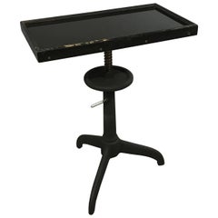 Industrial Bausch & Lomb Black Glass Optometry Examination Side Table