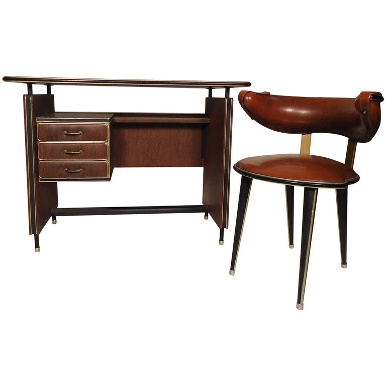 Vintage Modern Italian Desk And Chair For Sale At 1stdibs
