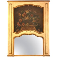 French Antique Painted and Parcel-Gilt Trumeau or over the Mantel Wall Mirror
