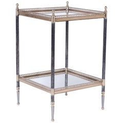Two-Tiered Metal Glass and Brass Stand