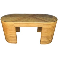 Paul Frankl Style Mid-Century Modern Oval Reed Bamboo Console Desk