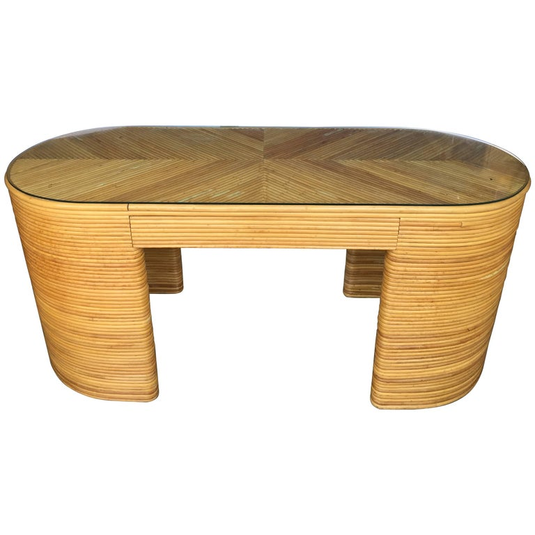 Paul Frankl Style Mid-Century Modern Oval Reed Bamboo Desk