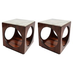Pair of Novo Rumo Brazilian 1960s Jacaranda Side Tables