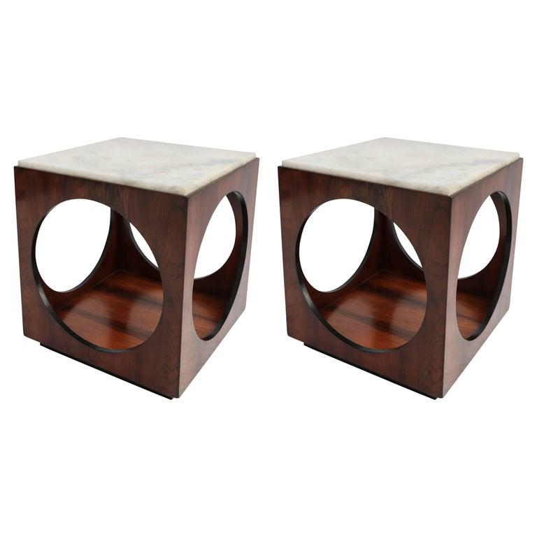 Pair of Novo Rumo Brazilian 1960s Jacaranda Side Tables For Sale