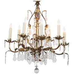 Elegant Italian 1960s Hollywood Regency Eight-Light Gilt-Tole Chandelier
