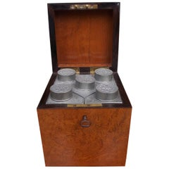 Chinese Burl Walnut Tea Caddy with Decorative Floral Pewter Bins, Circa 1810