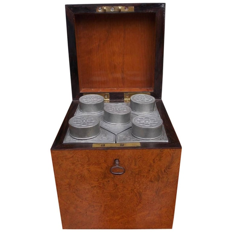 Chinese Burl Walnut Tea Caddy with Decorative Floral Pewter Bins, Circa 1810 For Sale