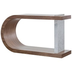 GISELE CONSOLE TABLE - Modern Table with Curved Walnut and Marble Detail