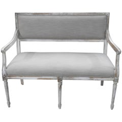 Painted Louis XVI Style Distressed Painted Hall Bench Settee