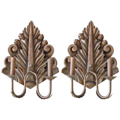 ON SALE! Pair of Hand-Carved Wood Sconces