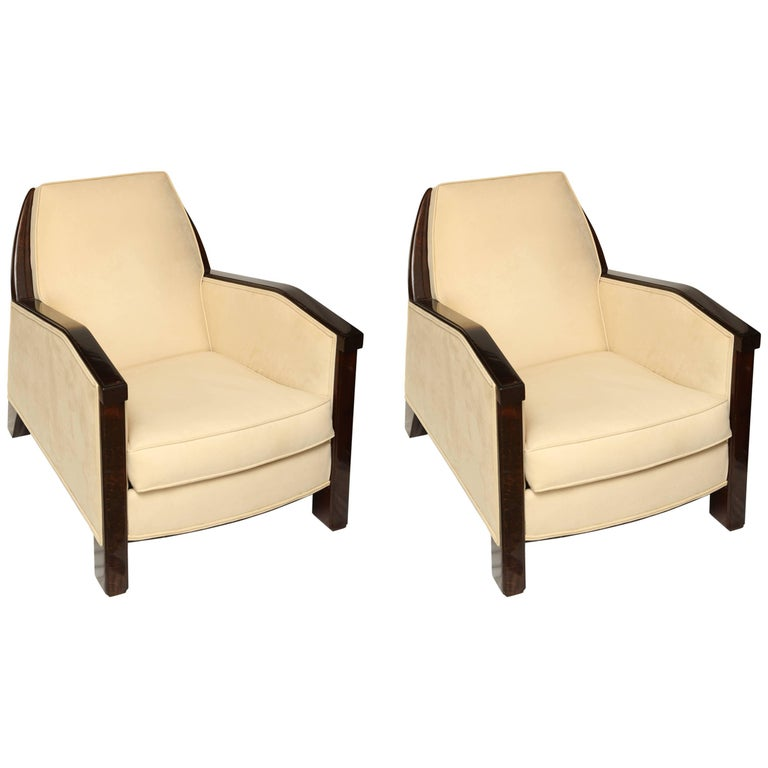 Beautiful Pair of 1930s French Rosewood Art Deco Armchairs
