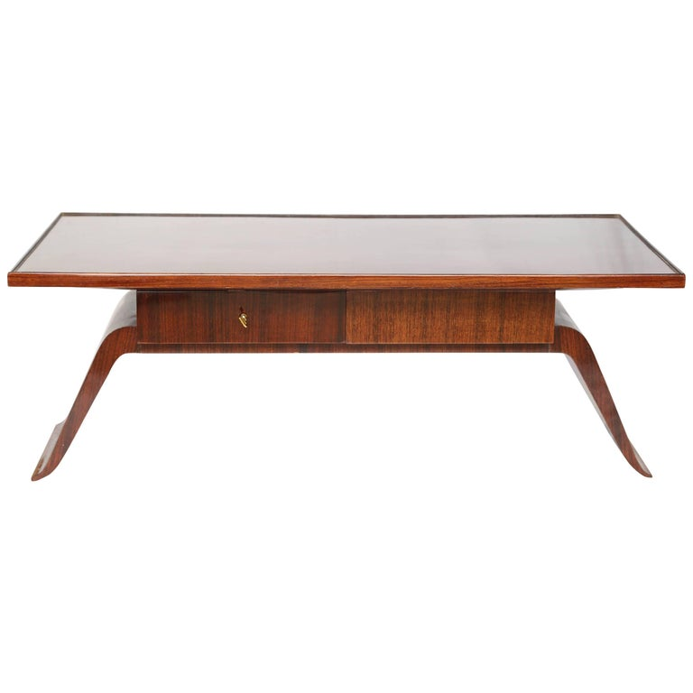 Superb 1925s Rosewood Coffee French Art Deco Table by Jean Pascaud