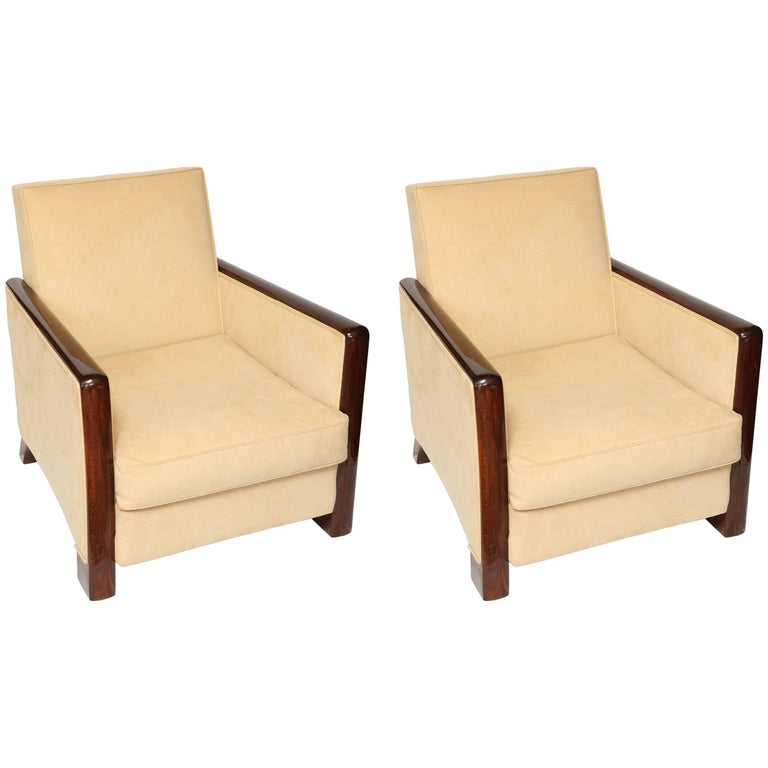 Beautiful Pair of French Art Deco Rosewood 1930s Armchairs