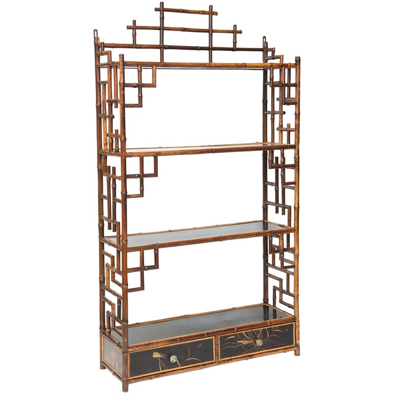 Beautiful Hanging 19th Century Bamboo Étagère For Sale