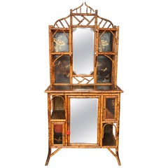 Beautiful 19th Century English Bamboo Lacquer Curio Cabinet