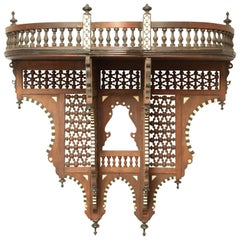 Superb Moroccan Carved Inlaid Hanging Wall Shelf