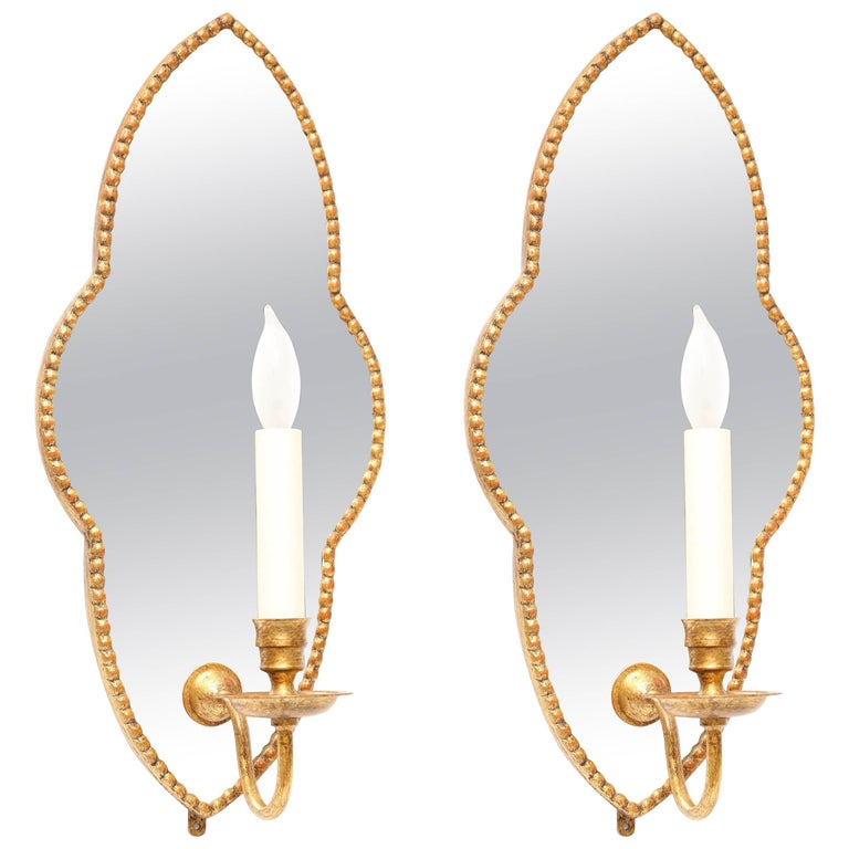 Pair of Mirrored Venetian Style Wall Sconces by Vaughan