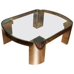 Brass and Stainless Steel Coffee Table by Karl Springer