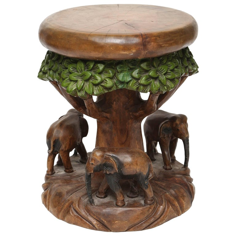 Carved Wood Elephant Garden Seat