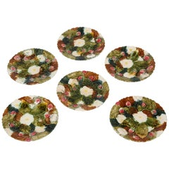 Set of Six Antique Strawberry Majolica Plates