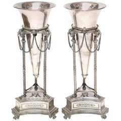 Pair of Neoclassical Silver Plate Vases