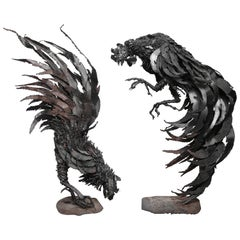 Lifesize Pair Of Brutalist Fighting Cocks
