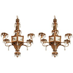 Pair of Whimsical Pagoda Form Tole Chandeliers