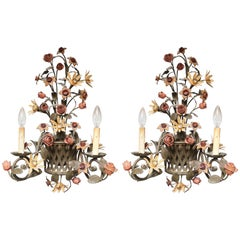 Pair Of  Gardenesque Iron Sconces