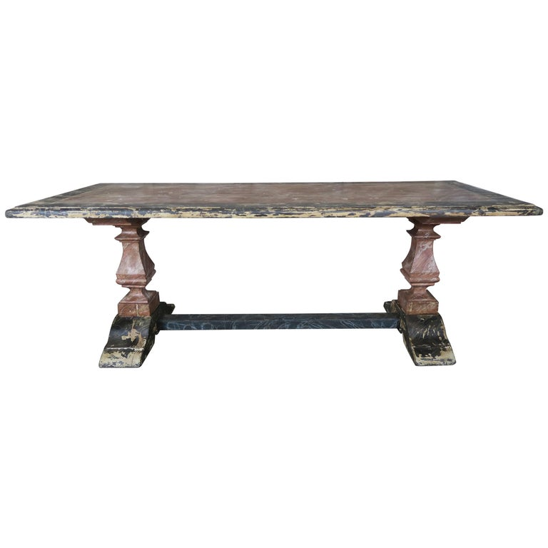 19th Century Italian Painted Trestle Table