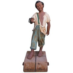 American Cast Iron Hitching Post with Negro Boy on Bail of Cotton, NY Circa 1850