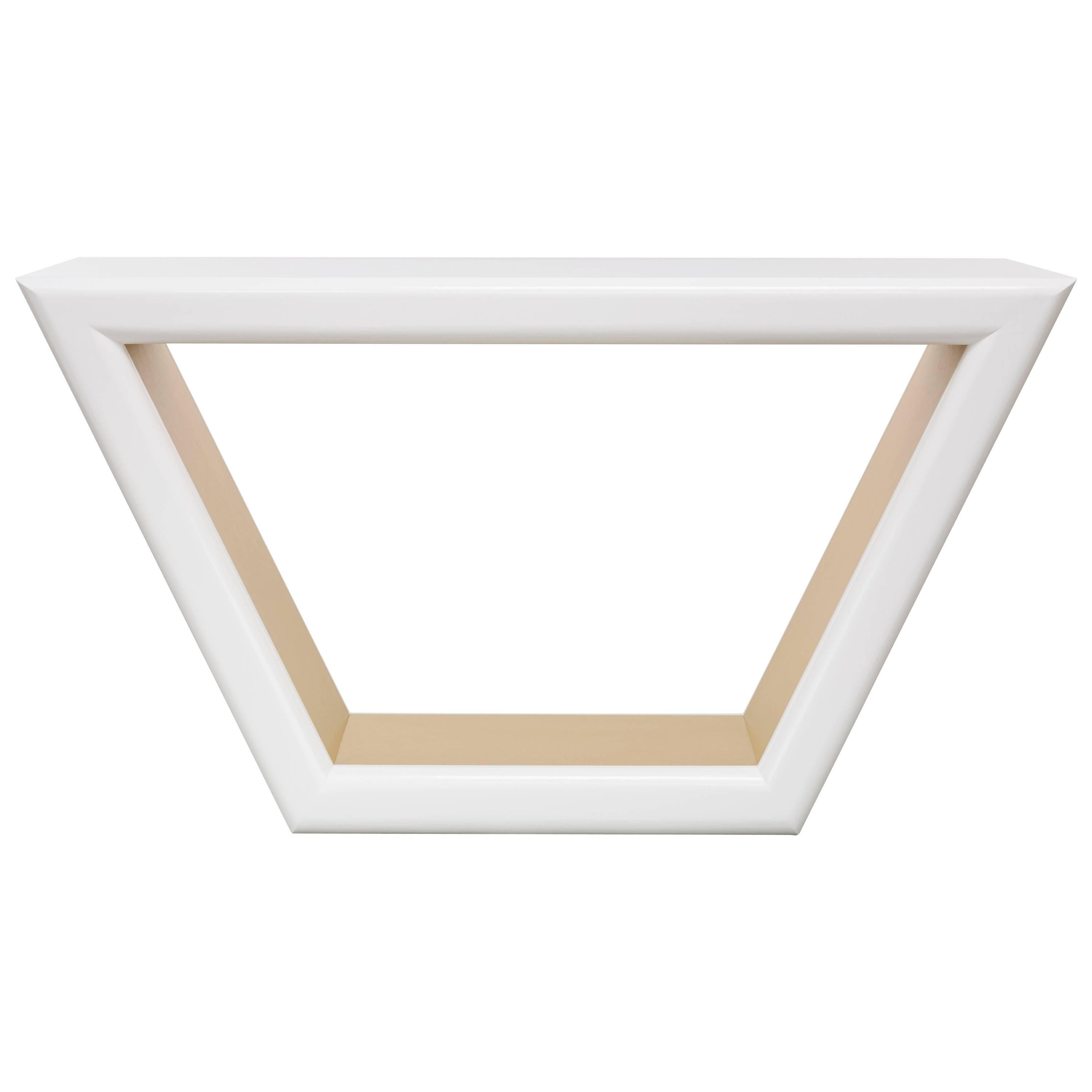 JOLIE CONSOLE TABLE - Modern  White Lacquer Console and Metal Inlay