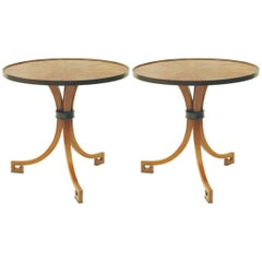 New Pair of Side Tables Circle Walnut Ebonized three Leg Brown Nightstands