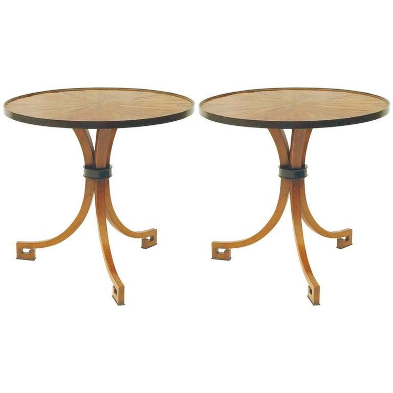 New Pair of Side Tables Circle Walnut Ebonized three Leg Brown Nightstands