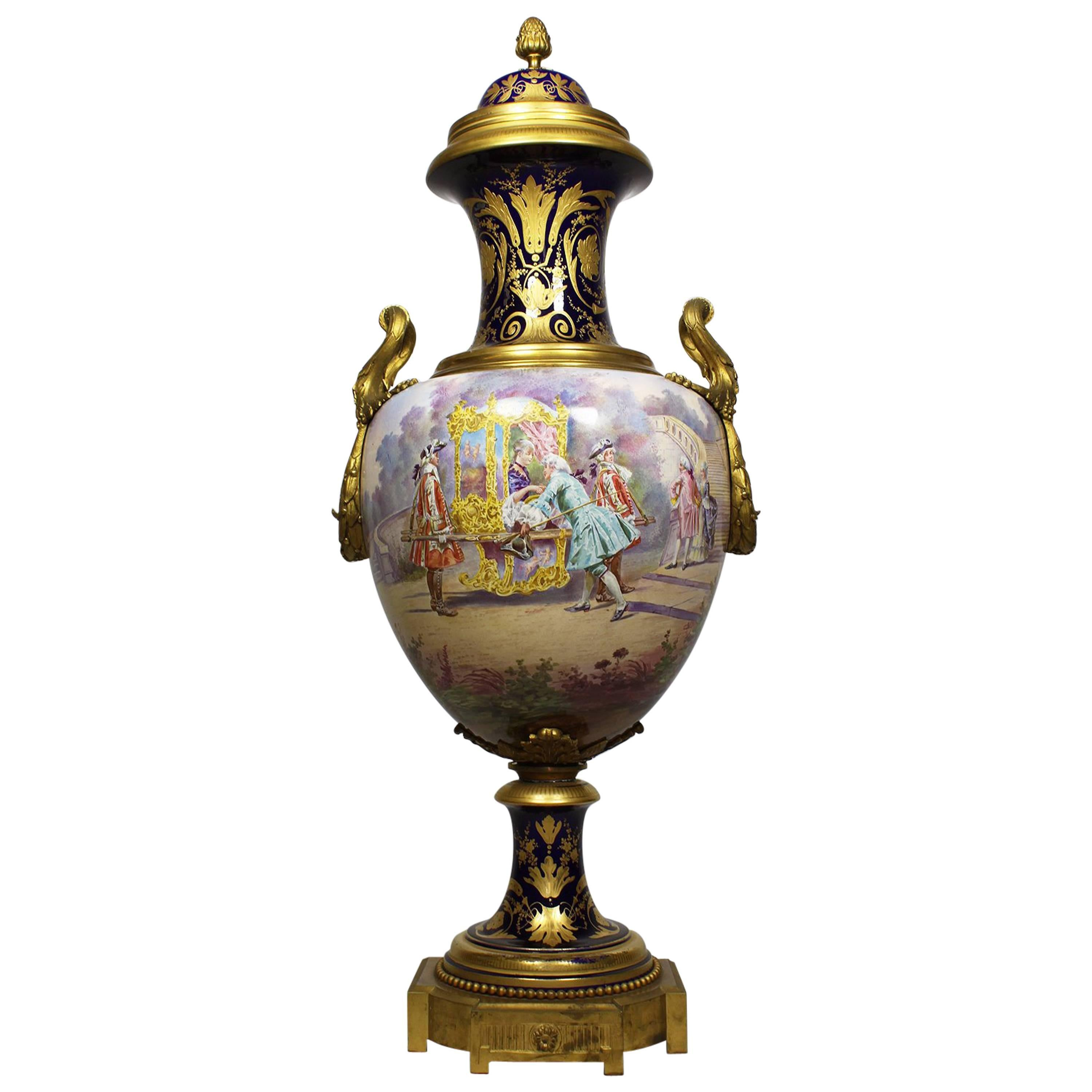 French 19th Century Napoleon III Sévres Style Porcelain and Ormolu Mounted Urn