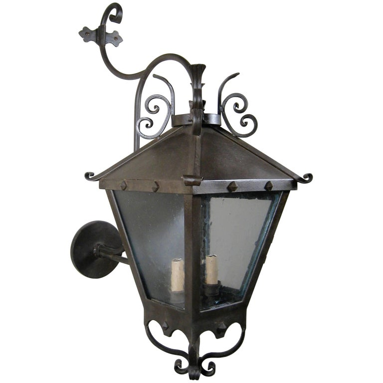 Decorative Iron Exterior Wall Lantern For Sale