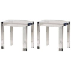 Solid Italian Acrylic Side Tables End Table Clear Lucite