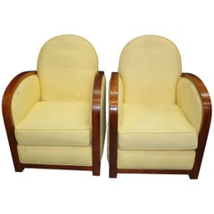 Fine Pair of French Art Deco Speed Armchairs or Club Chairs, circa 1940s