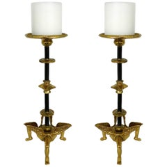 "Michael Aram Pair of ""Achilles"" Brass Candlesticks"