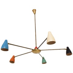 Mid-Century Modern Italian Chandelier in the Style of Stilnovo with Five Arms
