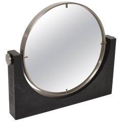 Mid-Century Modern Italian Table Mirror Black Marble