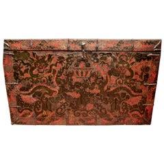 Tibetan Lasa Monastery Gam Wood Trunk 19th Century Dragon Red Black Casegood