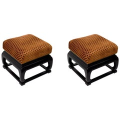 Pair of Asia Modern Chinese Style Ottoman Footrest Stools