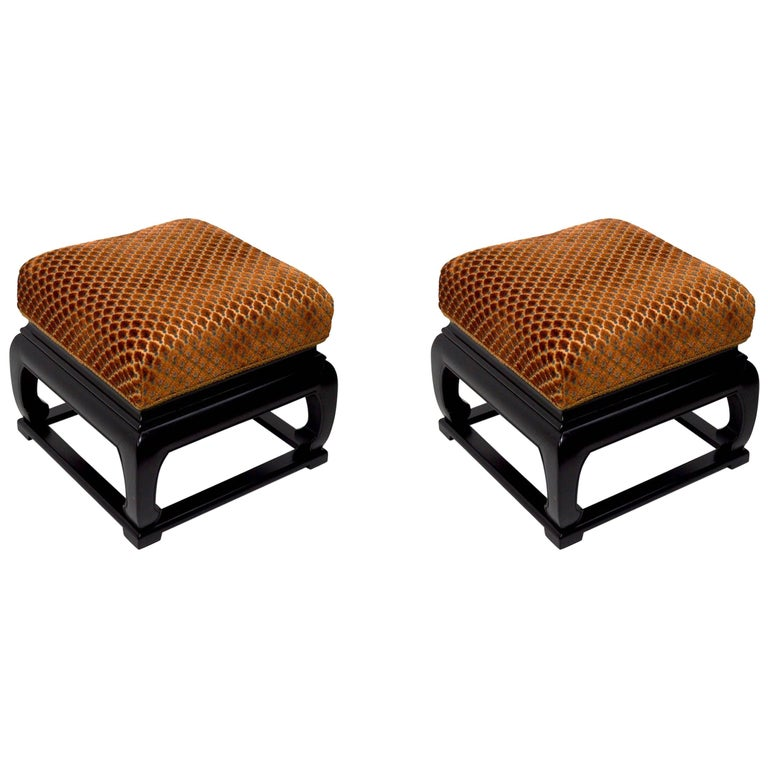 Pair of Asia Modern Chinese Style Ottoman Footrest Stools For Sale