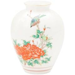 Vintage Japanese Hand Painted Arita Porcelain Vase with Peonies