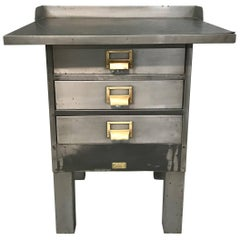 Industrial Brushed Steel and Brass Printer's Work Station by Allsteel