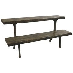Industrial Two-Tier Cast Iron Reclaimed Maple Block Bleachers