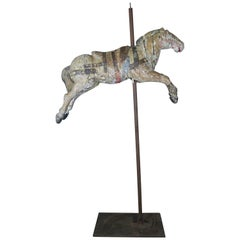 19th French Carousel Horse Mounted on Iron Base