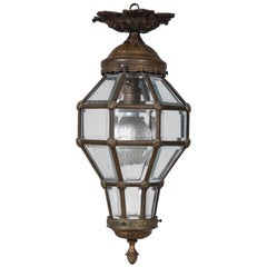 Antique Neoclassical Style Glass and Ormolu Lantern