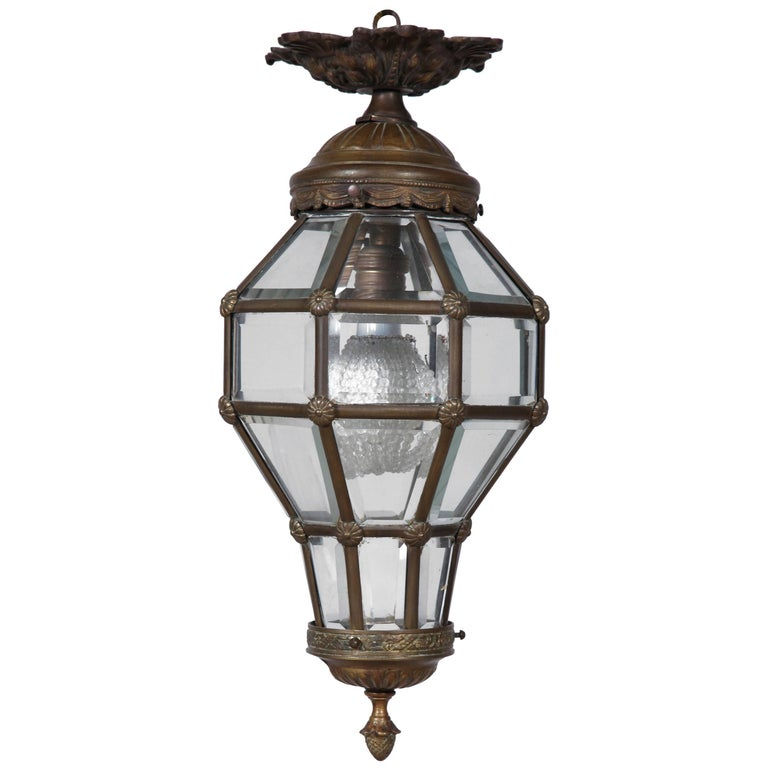 Antique Neoclassical Style Glass and Ormolu Lantern For Sale
