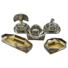 Italian Art Deco Glass and Sterling Toilet Set by Ilga